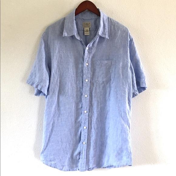 L.L. Bean Other - LL Bean Men's 100% Linen Short Sleeve Blue Shirt